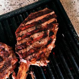 marcas de grelha na carne